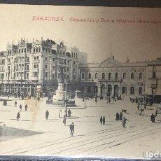Postales: ZARAGOZA , ARAGÓN , DIPUTACIÓN Y BANCO HISPANO AMERICANO , TRANVÍA .. Lote 204681787