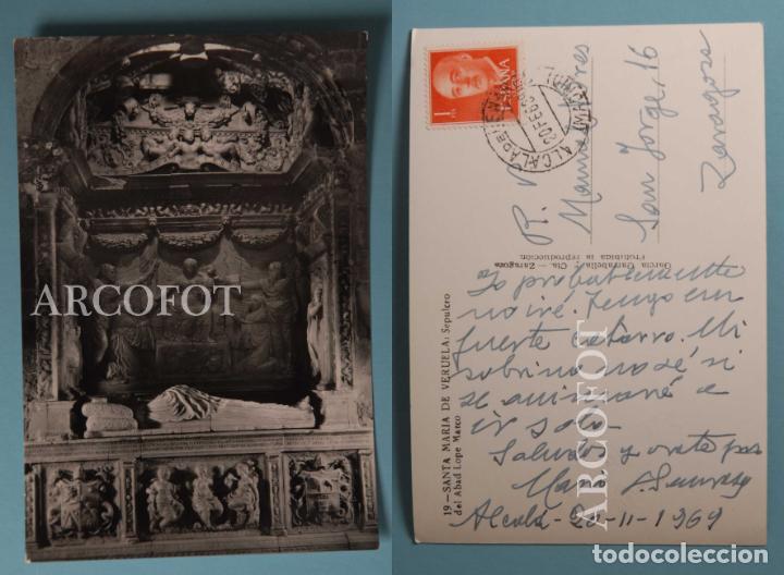 ANTIGUA POSTAL - 19 - SANTA MARÍA DE VERUELA - SEPULCRO - ESCRITA Y SELLADA - LA DE LAS FOTOS (Postales - España - Aragón Moderna (desde 1.940))