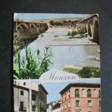 Postales: MONZON-PUENTE SOBRE EL CINCA-PLAZA DE LOS MARTIRES-COMERCIAL JOSAN-12-POSTAL ANTIGUA-(71.515). Lote 208314607