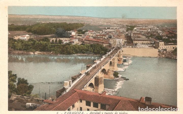 ZARAGOZA Nº 8 ARRABAL Y P.PIEDRA ROISIN FOTG, SIN CIRC. (Postales - España - Aragón Antigua (hasta 1939))