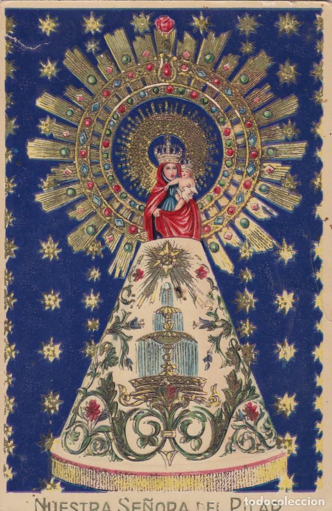 ZARAGOZA NUESTRA SEÑORA DEL PILAR. POSTAL FOTOGRAFICA ALEMANA EN BYN COLOREADA. ESCRITA (Postales - España - Aragón Antigua (hasta 1939))