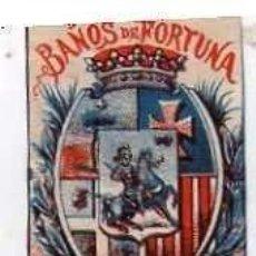 Postales: CROMITO DE CERILLAS ESCUDO HUESCA PUBLICIDAD DE BAÑOS DE FORTUNA. BALNEARIO. MURCIA. Lote 210566853