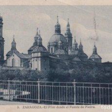 Postales: POSTAL DE ZARAGOZA NUM 3 EL PILAR DESDE EL PUENTE DE PIEDRA. Lote 215545952