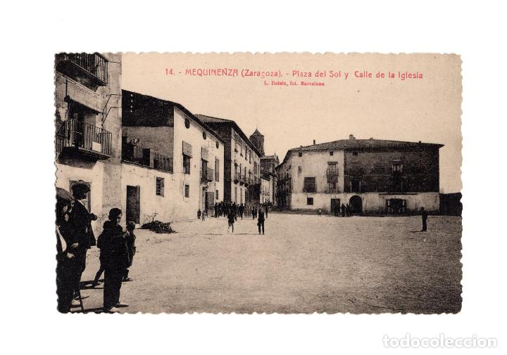 MEQUINENZA.(ZARAGOZA).- PLAZA DEL SOL Y CALLE DE LA IGLESIA. (Postales - España - Aragón Antigua (hasta 1939))