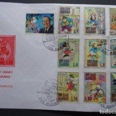 Postales: SERIE COMPLETA EN SOBRE MATASELLADO DE WALT DISNEY, REPUBLICA DE SAN MARINO. VER FOTO. Lote 217138692