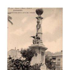 Postales: ZARAGOZA.- ESTATUA DE D. JUAN DE LANUZA.. Lote 219375573