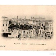 Postales: ZARAGOZA.- PUERTA Y PASEO DE SANTA ENGRACIA.. Lote 219377758