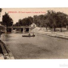 Cartoline: ZARAGOZA.- EL CANAL IMPERIAL Y LA PLAYA DE TORRERO.. Lote 219759530