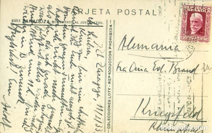 Postales: ZARAGOZA. MONUMENTO AL JUSTICIA. EDICIONES LOTY. CIRCULADA EN 1933. MUY RARA. - Foto 2 - 221669051