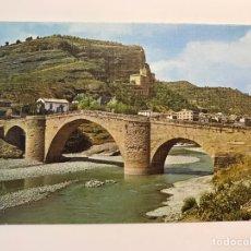 Postales: GRAUS (HUESCA) POSTAL NO.9, PUENTE DE ABAJO SOBRE EL RÍO ESERA. ROMANICO, EDIC. SICILIA (H.1960?). Lote 221965031