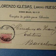 Postales: LORENZO IGLESIAS, LIBRERO. HUESCA. (REVERSO IMPRESO). CIRCULADA EN 1911. PARA PEDIDO LIBRERIA.. Lote 222705217