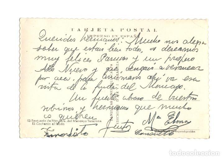 Postales: TARAZONA.(ZARAGOZA).- SANTUARIO DE NUESTRA SEÑORA DEL MONCAYO EL COCHARÓN AL FONDO. - Foto 2 - 224097026