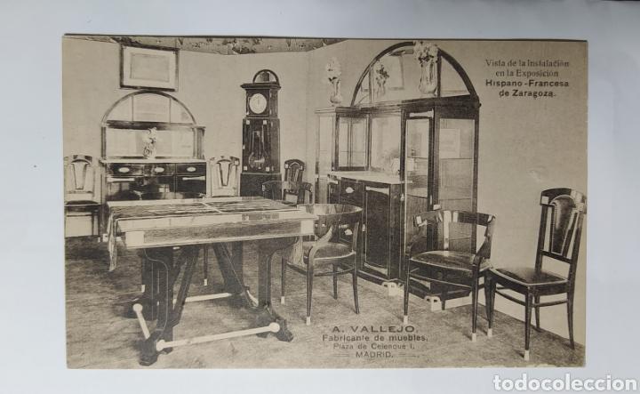 ZARAGOZA, ARAGÓN, EXPOSICIÓN DE 1908 , PUBLICIDAD MUEBLES VALLEJO, MADRID. (Postales - España - Aragón Antigua (hasta 1939))
