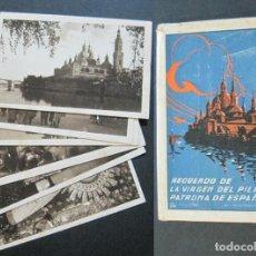 Postales: GUERRA CIVIL-RECUERDO DE LA VIRGEN DEL PILAR-ZARAGOZA-COL 6 POSTALES + SOBRE-VER FOTOS-(75.716). Lote 225037685
