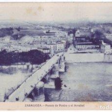 Postales: ZARAGOZA: PUENTE DE PIEDRA Y EL ARRABAL. NO CONSTA EDITOR. NO CIRCULADA (AÑOS 20). Lote 226248600