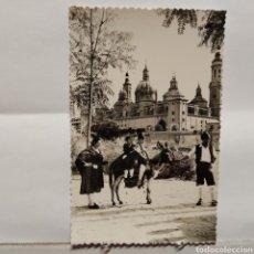 Postales: ZARAGOZA 156 A ORILLAS DEL EBRO Y EL PILAR, GRUPO FOLKLÓRICO ARAGONÉS ESTESO, EDICIONES SICILIA. Lote 235558755
