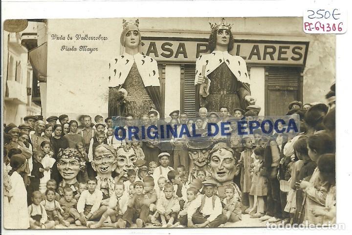 (PS-64306)POSTAL FOTOGRAFICA DE VALDERROBLES-FIESTA MAYOR.GIGANTES Y CABEZUDOS. (Postales - España - Aragón Antigua (hasta 1939))
