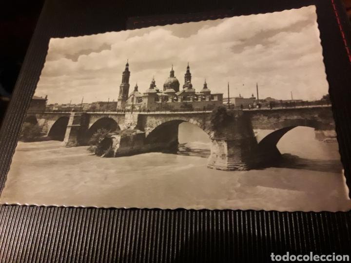ANTIGUA POSTAL FOTOGRAFÍCA, ZARAGOZA, PUENTE DE PIEDRA SOBRE EL EBRO (Postales - España - Aragón Moderna (desde 1.940))
