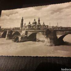Postales: ANTIGUA POSTAL FOTOGRAFÍCA, ZARAGOZA, PUENTE DE PIEDRA SOBRE EL EBRO. Lote 237016580