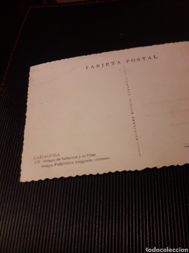 Postales: Antigua postal fotografíca, Zaragoza, Grupo de baturros y el Pilar - Foto 2 - 237017020