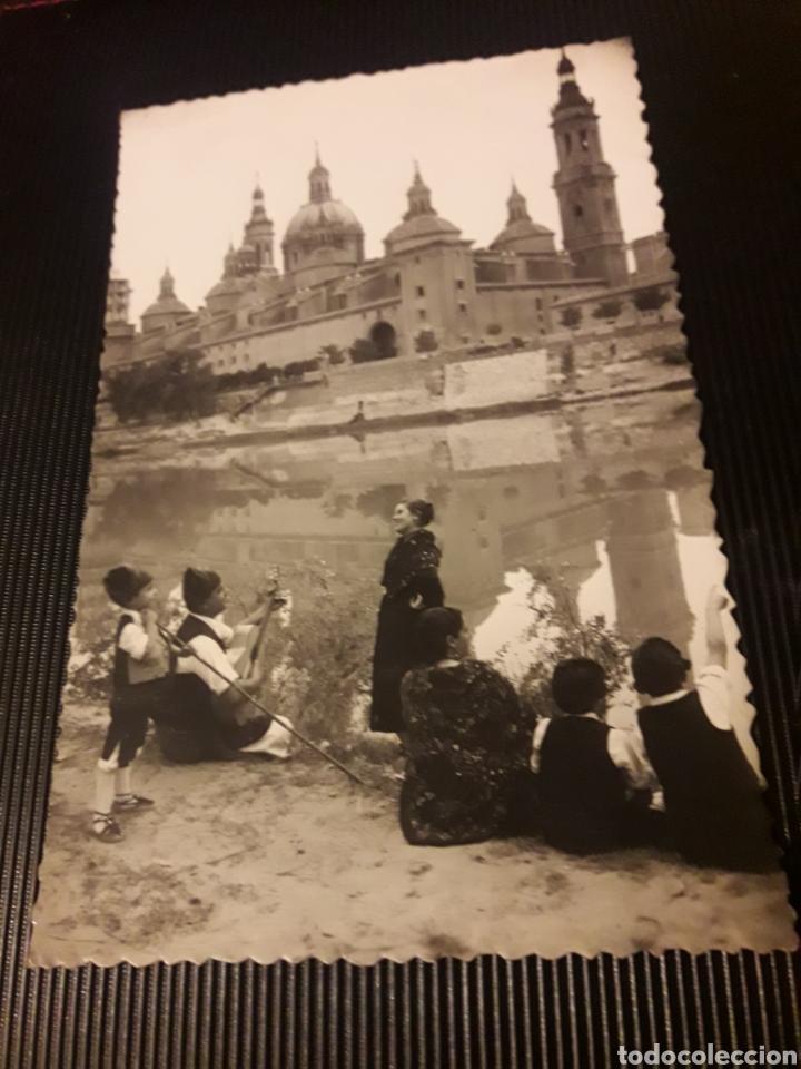ANTIGUA POSTAL FOTOGRAFÍCA, ZARAGOZA, GRUPO DE BATURROS Y EL PILAR (Postales - España - Aragón Moderna (desde 1.940))