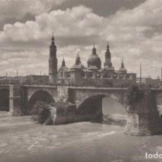 Postales: POSTAL ZARAGOZA - PUENTE DE PIEDRA SOBRE EL EBRO - GARRABELLA. Lote 240399280