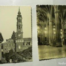 Postales: LOTE POSTALES ZARAGOZA CATEDRAL -1 CIRCULADA CM. Lote 243915170