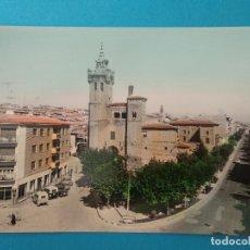Postales: EJEA DE LOS CABALLEROS (ZARAGOZA).-IGLESIA SALVADOR Y AVDA. DEL GENERAL FRANCO.- ED. MONTAÑÉS Nº 22. Lote 244399440