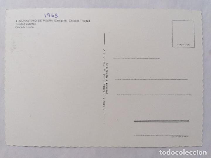 Postales: POSTAL ZARAGOZA, MONASTERIO DE PIEDRA, CASCADA TRINIDAD, AÑOS 60 - Foto 2 - 244975580