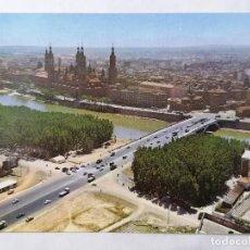 Postales: POSTAL ZARAGOZA, VISTA AEREA, PUENTE DE SANTIAGO Y BASILICA DEL PILAR, AÑOS 60. Lote 244976590