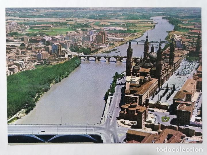 POSTAL ZARAGOZA, VISTA AEREA, PUENTE DE SANTIAGO Y BASILICA DEL PILAR, AÑOS 60 (Postales - España - Aragón Moderna (desde 1.940))