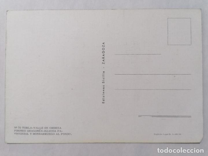 Postales: POSTAL TORLA, VALLE DE ORDESA, PIRINEO ARAGONES, IGLESIA PARROQUIAL, AÑOS 60 - Foto 2 - 244976995