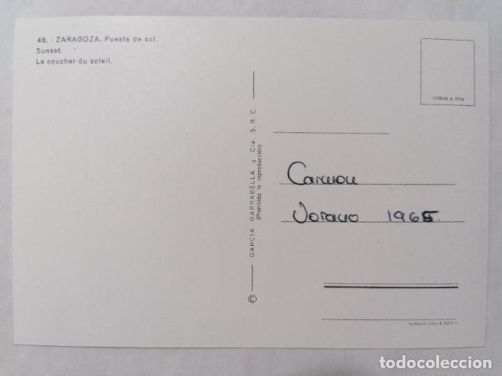 Postales: POSTAL ZARAGOZA, PUESTA DE SOL, SUNSET, AÑOS 60 - Foto 2 - 244978320