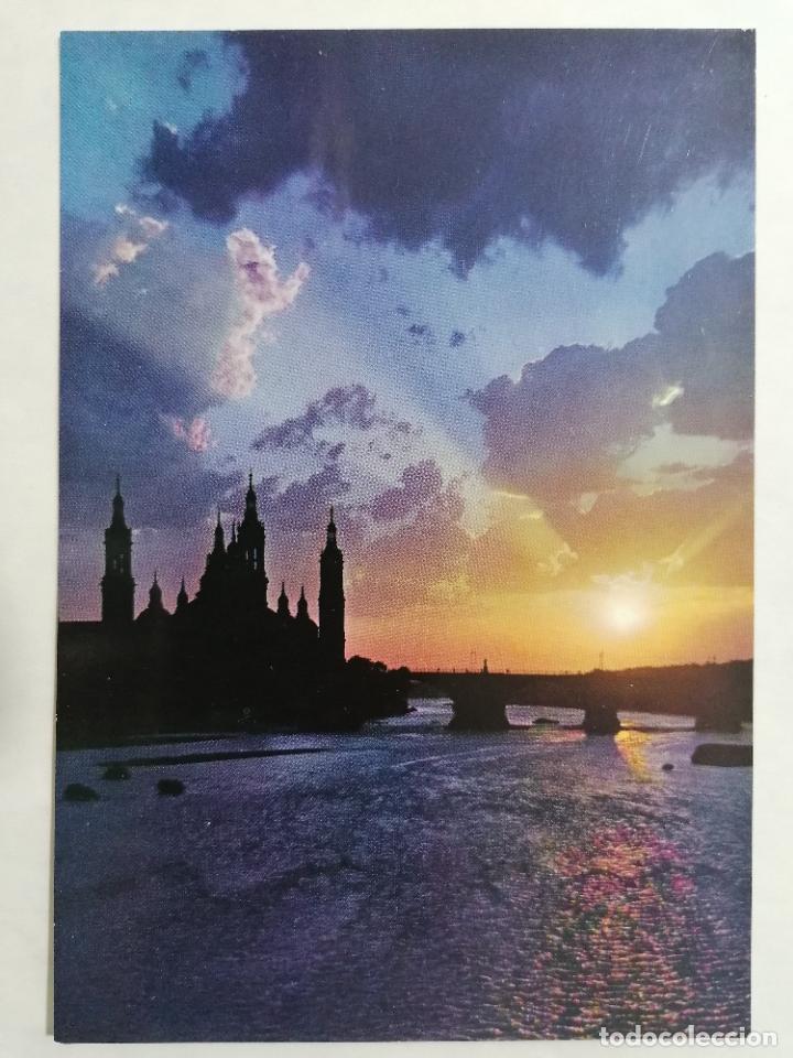 POSTAL ZARAGOZA, PUESTA DE SOL, SUNSET, AÑOS 60 (Postales - España - Aragón Moderna (desde 1.940))