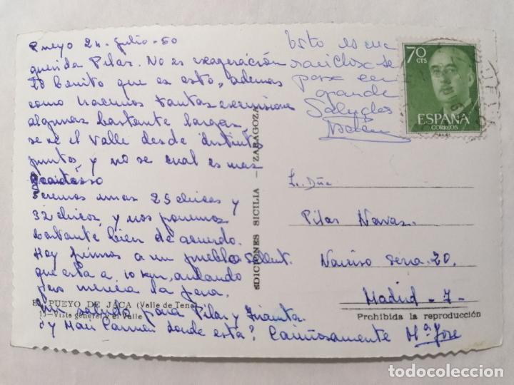 Postales: POSTAL EL PUEBLO DE JACA, VALLE DE TENA, VISTA GENERAL Y EL VALLE, AÑO 1960 - Foto 2 - 244978835