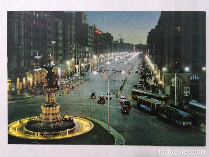POSTAL ZARAGOZA, PLAZA DE ESPAÑA Y AVDA DE LA INDEPENDENCIA, AÑOS 60 (Postales - España - Aragón Moderna (desde 1.940))