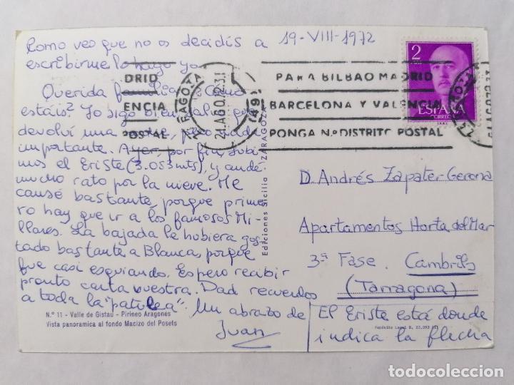 Postales: POSTAL VALLE DE GISTAU, VISTA PANORAMICA AL FONDO MACIZO DE POSETS, AÑOS 70 - Foto 2 - 244979460