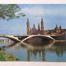 Postales: POSTAL ZARAGOZA, PUENTE DE SANTIAGO Y BASILICA DEL PILAR, AÑOS 60. Lote 244979695