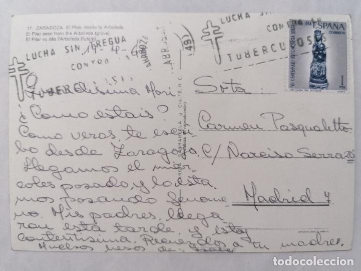 Postales: POSTAL ZARAGOZA, EL PILAR DESDE LA ARBOLEDA, AÑOS 60 - Foto 2 - 244979900