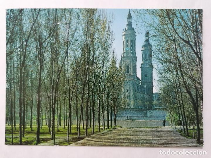 POSTAL ZARAGOZA, EL PILAR DESDE LA ARBOLEDA, AÑOS 60 (Postales - España - Aragón Moderna (desde 1.940))