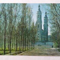 Postales: POSTAL ZARAGOZA, EL PILAR DESDE LA ARBOLEDA, AÑOS 60. Lote 244979900