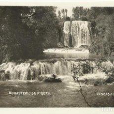 Postales: MONASTERIO DE PIEDRA. ZARAGOZA. CASCADA DEL VADO. REGTOR. 9X14 CM. AÑOS 40.. Lote 245030955