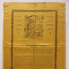 Postales: GRABADO SOBRE SEDA - SANTO TOMÁS DE AQUINO - TESIS TEOLÓGICA SOBRE LOS ÁNGELES - VIC 1828 - 42 X 59. Lote 245130360