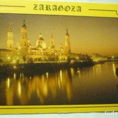 Postales: POSTAL ZARAGOZA EL PILAR Y RIO EBRO ATARDECER ESCRITA. Lote 245246660