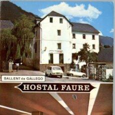 Postales: EM0401 SALLENT DE GALLEGO HOSTAL FAURE 1974 PEÑARROYA RENAULT 5 SIMCA 1200. Lote 253797405