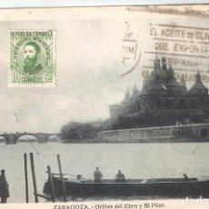 Postales: ZARAGOZA .- ORILLAS DEL EBRO H. A,E, CIRCULADA. Lote 254628680