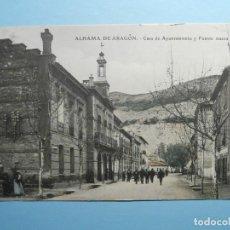 Postales: POSTAL - ALHAMA DE ARAGÓN - CASA DE AYUNTAMIENTO Y FUENTE NUEVA - E.J.C -. ESCRITA 1908. Lote 254641210