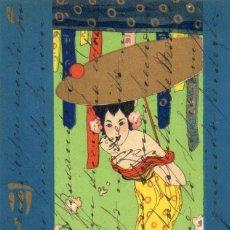 Postales: POSTAL ANTIGUA -JAPONESA O CHINA -CIRCULADA Y DIVIDIDA. Lote 263581335