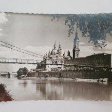 Postales: ZARAGOZA - LA PASARELA Y BASÍLICA DE NUESTRA SEÑORA DEL PILAR - LAXC - P52069. Lote 269245548