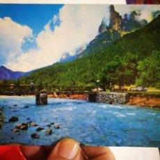 Postales: POSTAL PARQUE NACIONAL DE ORDESA PIRINEO ARAGONÉS RÍO ABRAZAS Y TOZAL DEL MALLO AL FONDO LA TENDENE. Lote 269288878